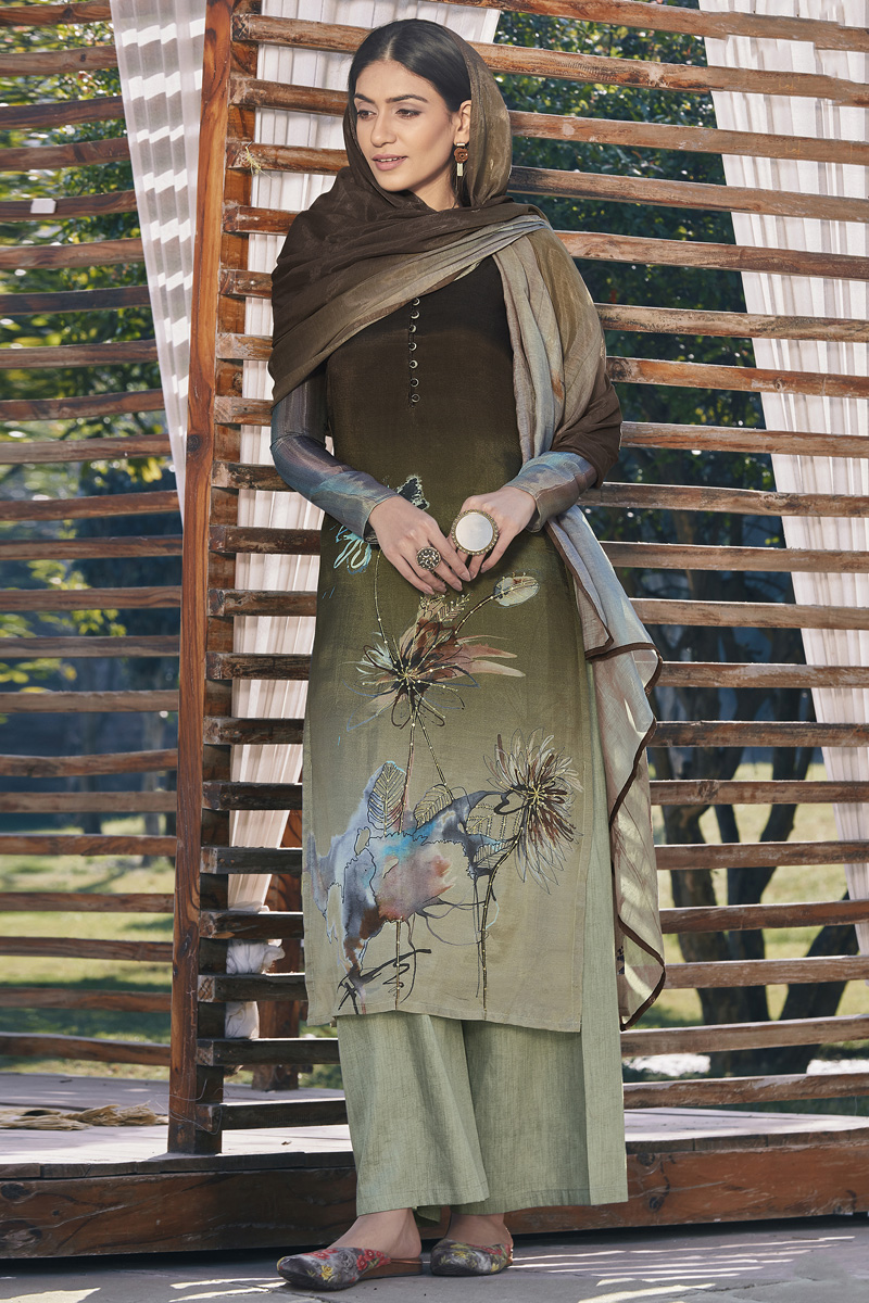 Cotton Silk Fabric Casual Wear Fancy Printed Dark Beige Color Palazzo Dress