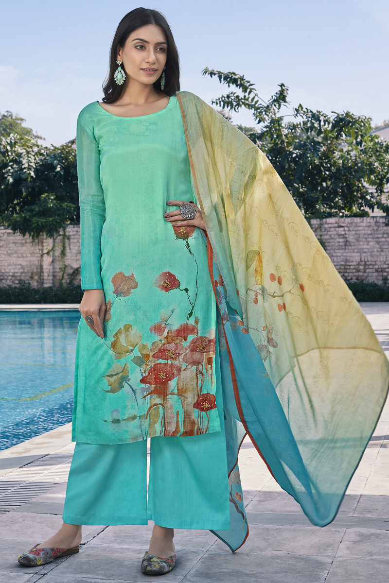 Sea Green Color Cotton Silk Fabric Simple Printed Daily Wear Palazzo Dress