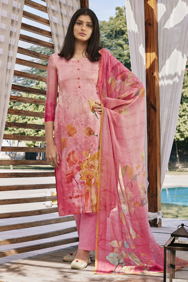 Cotton Silk Fabric Trendy Printed Office Wear Palazzo Dress In Pink Color