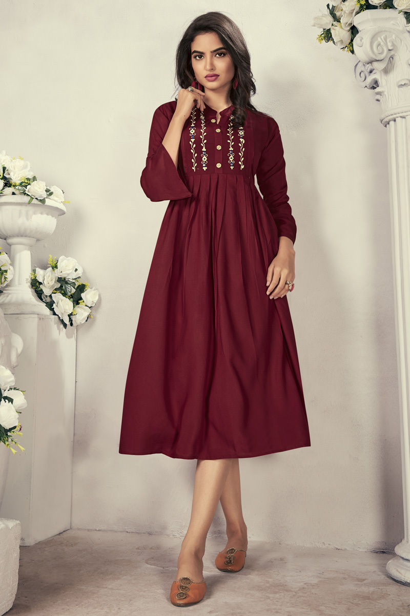 Fancy Maroon Color Festive Wear Thread Embroidered Kurti In Rayon Fabric