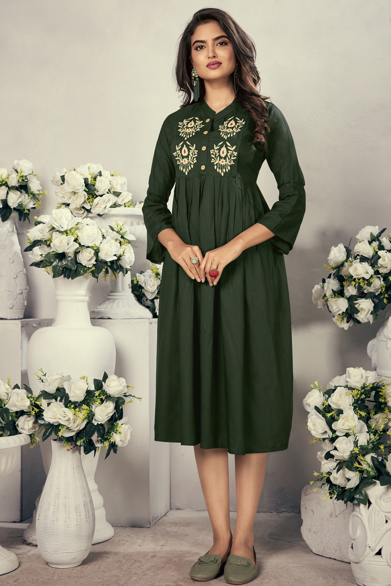 Festive Wear Fancy Dark Green Color Thread Embroidered Kurti In Rayon Fabric