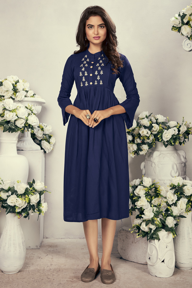 Festive Wear Fancy Navy Blue Color Thread Embroidered Kurti In Rayon Fabric