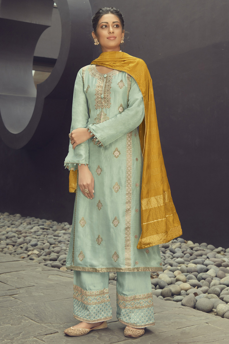 Sea Green Color Festive Wear Embroidered Jacquard Silk Fabric Palazzo Suit