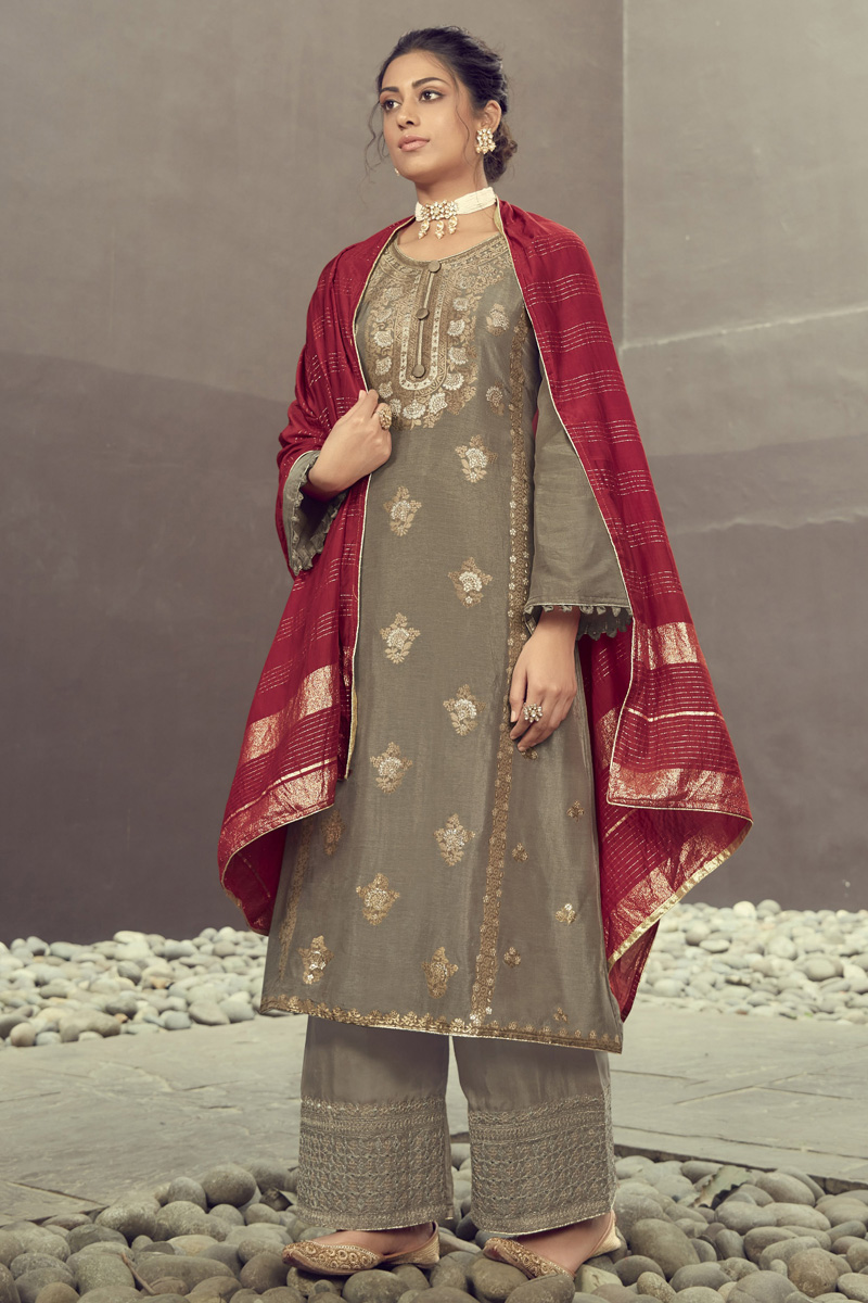 Dark Beige Color Party Wear Embroidered Jacquard Silk Fabric Palazzo Dress