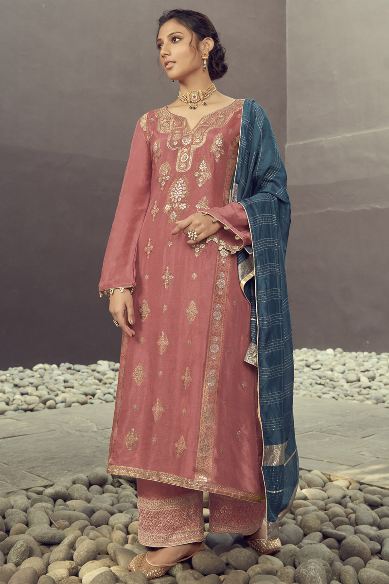 Jacquard Silk Fabric Function Wear Pink Color Embroidered Palazzo Suit