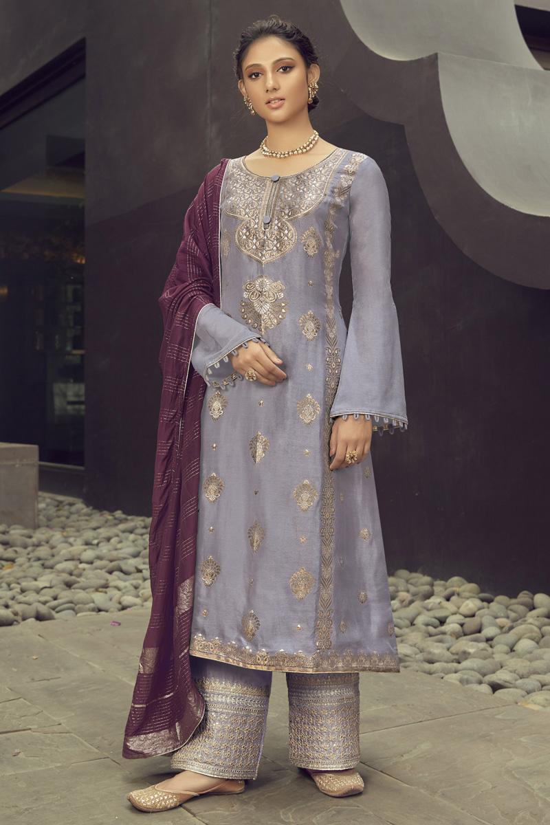 Lavender Color Jacquard Silk Fabric Festive Wear Embroidered Palazzo Dress