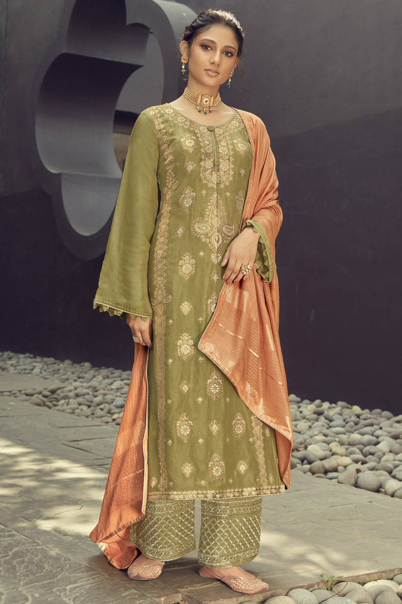 Jacquard Silk Fabric Party Wear Embroidered Palazzo Dress In Green Color