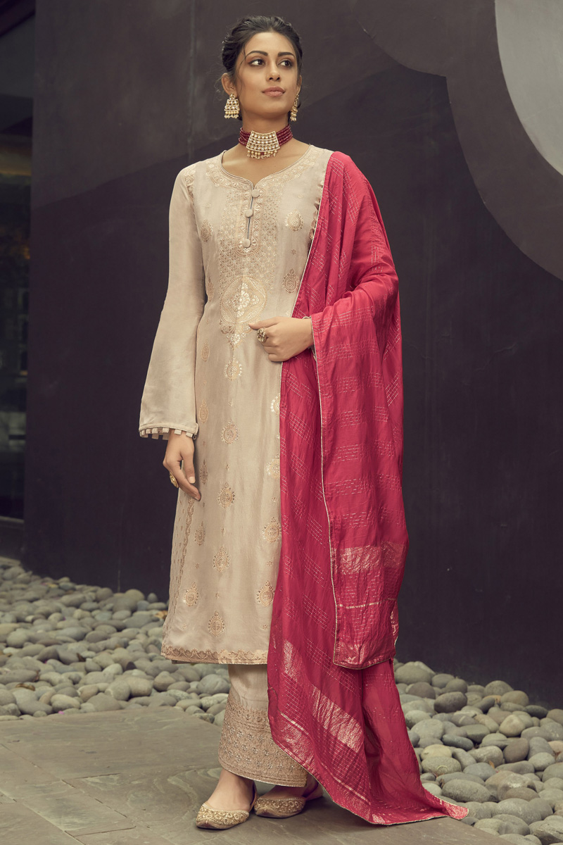 Function Wear Jacquard Silk Fabric Cream Color Embroidered Palazzo Suit