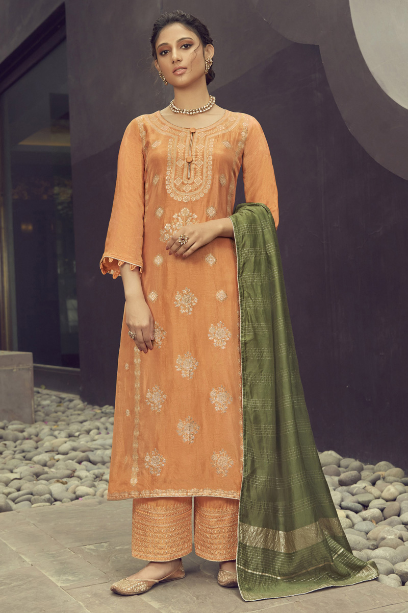 Orange Color Jacquard Silk Fabric Party Wear Embroidered Palazzo Dress