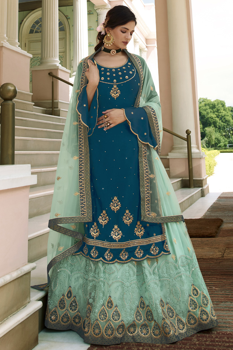 Georgette Fabric Function Wear Embroidered Teal Color Sharara Top Lehenga