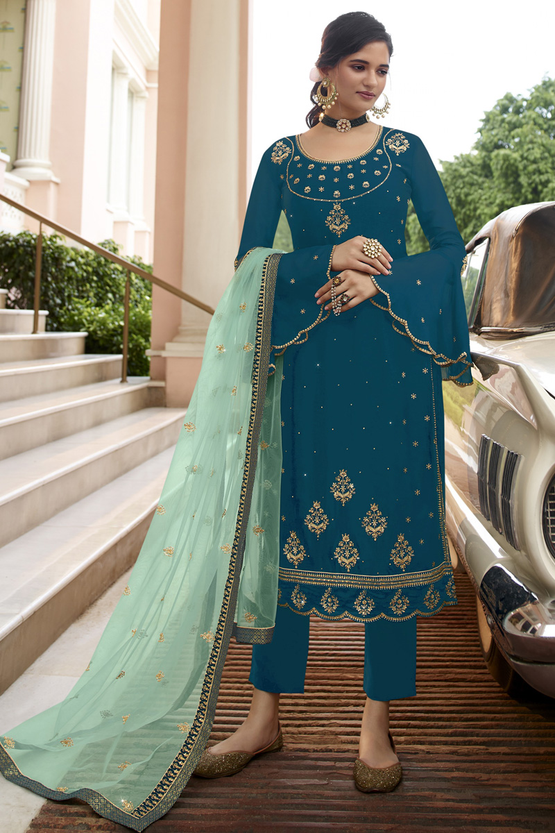 Party Wear Teal Color Trendy Embroidered Straight Cut Suit In Georgette Fabric