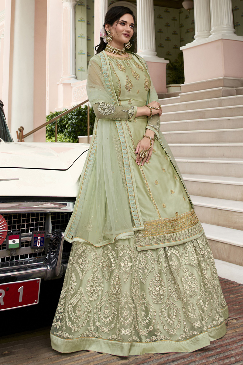 Sea Green Color Embroidered Function Wear Sharara Top Lehenga In Satin Georgette Fabric