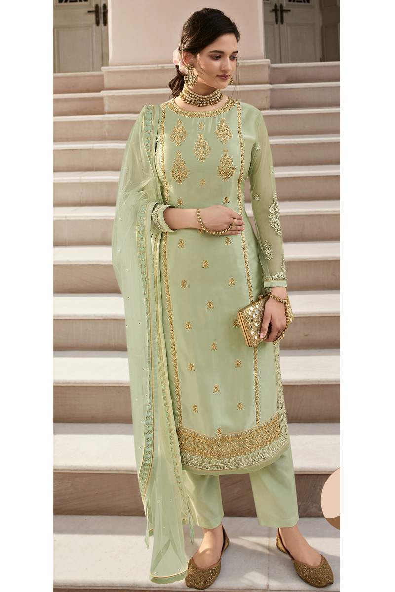 Sea Green Color Party Wear Trendy Embroidered Satin Georgette Fabric Straight Cut Dress