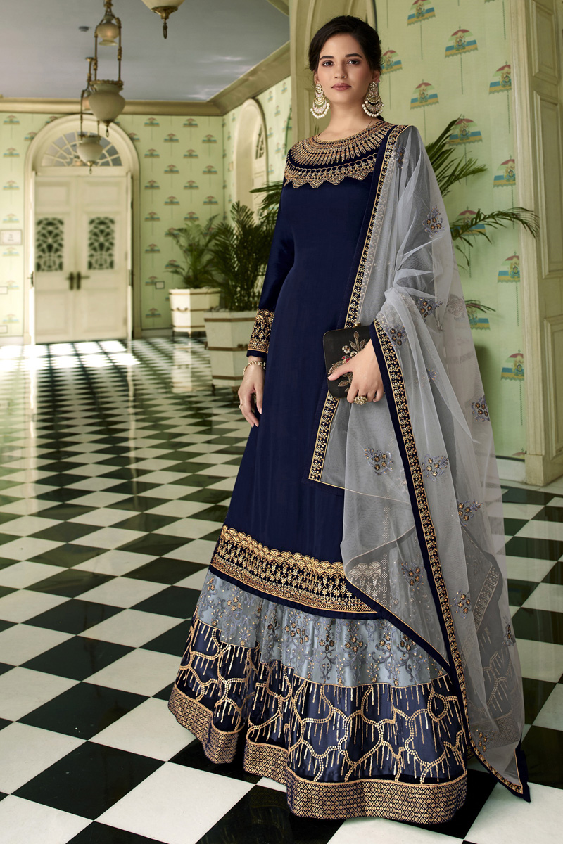 Satin Georgette Fabric Function Wear Navy Blue Color Embroidered Sharara Top Lehenga
