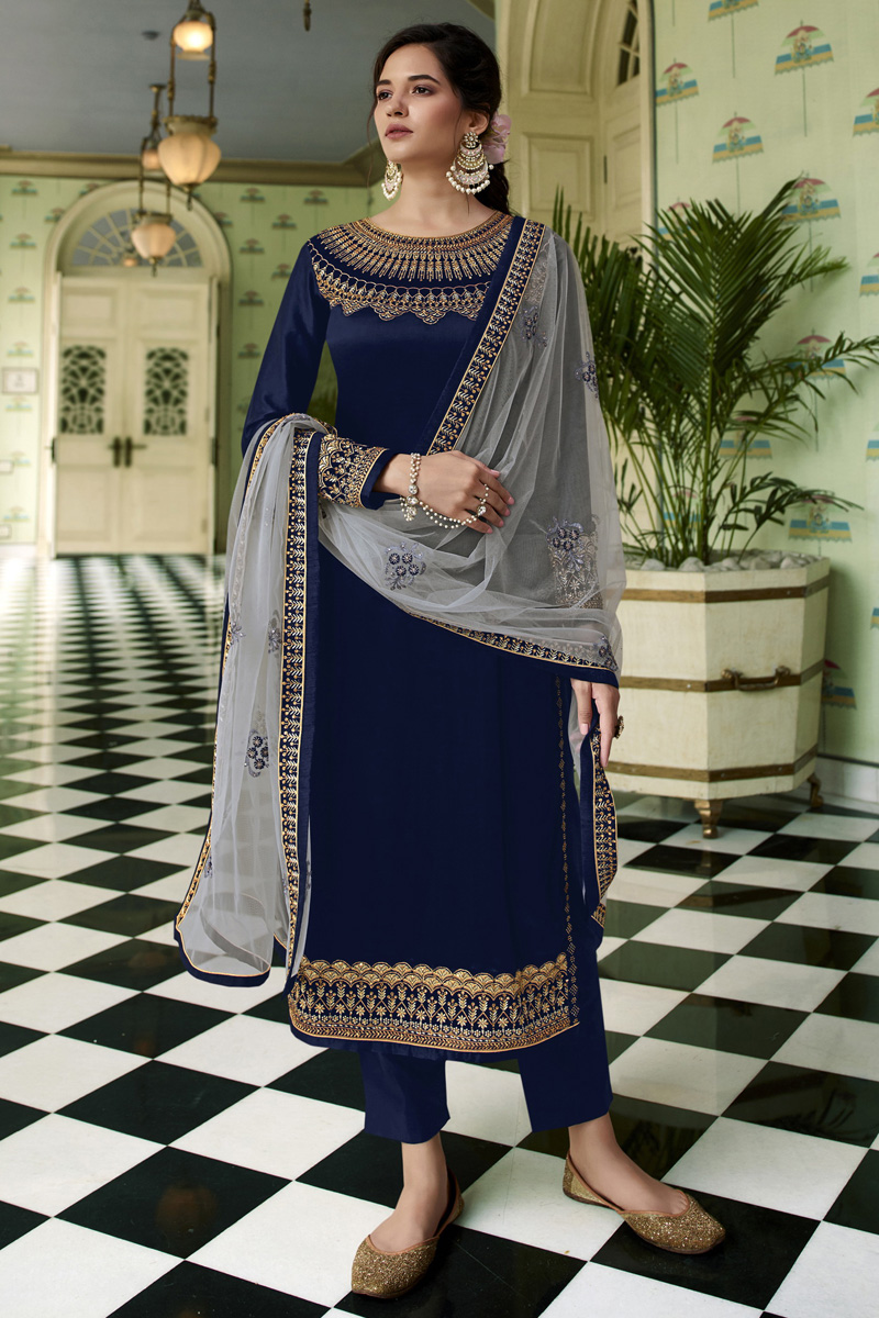 Navy Blue Color Party Wear Trendy Embroidered Straight Cut Suit In Satin Georgette Fabric