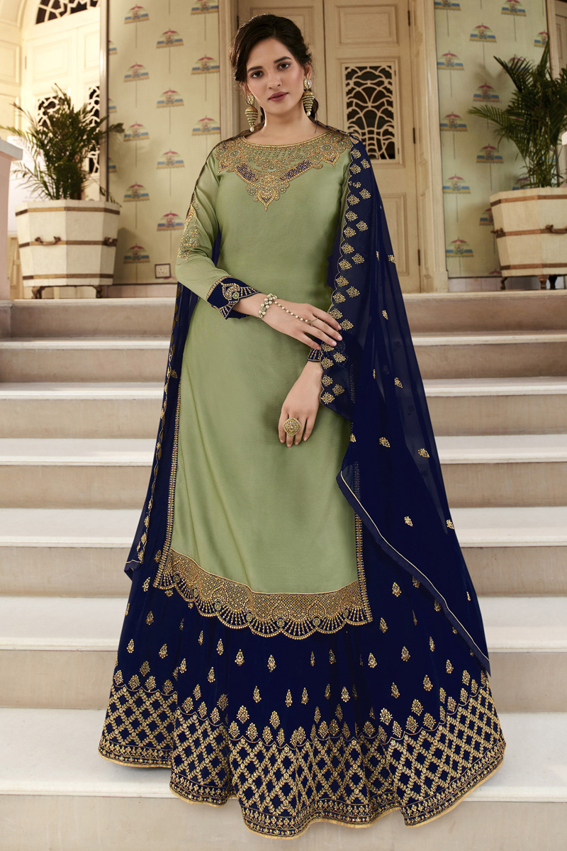Function Wear Georgette Fabric Embroidered Sharara Top Lehenga In Sea Green Color