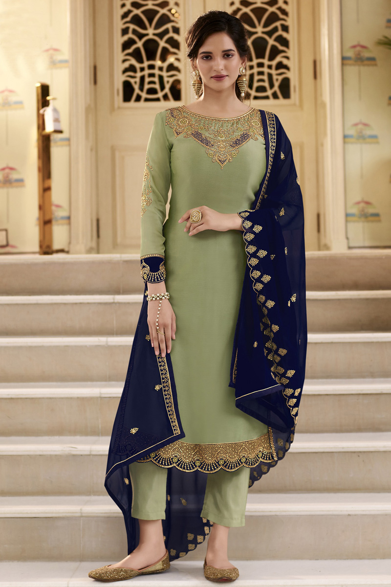 Party Wear Sea Green Color Georgette Fabric Trendy Embroidered Straight Cut Dress