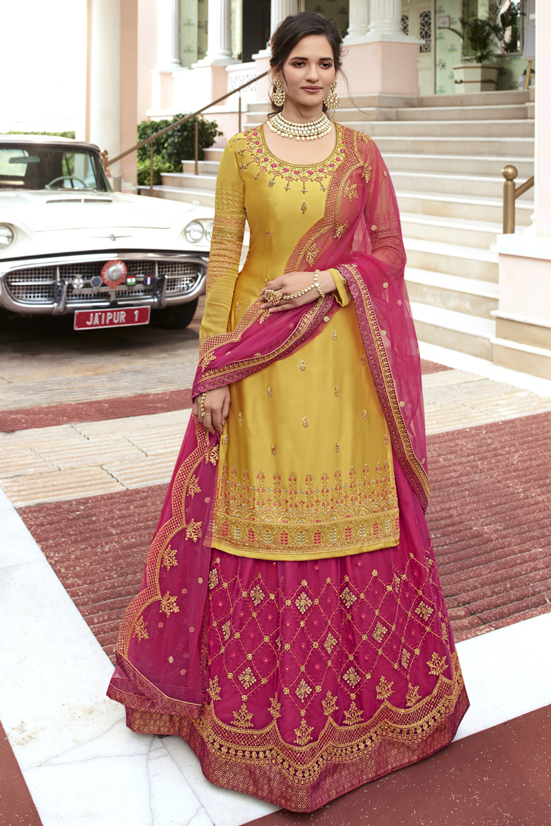 Yellow Color Function Wear Embroidered Satin Georgette Fabric Sharara Top Lehenga