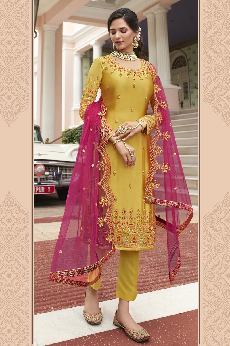 Satin Georgette Fabric Party Wear Trendy Embroidered Straight Cut Suit In Yellow Color