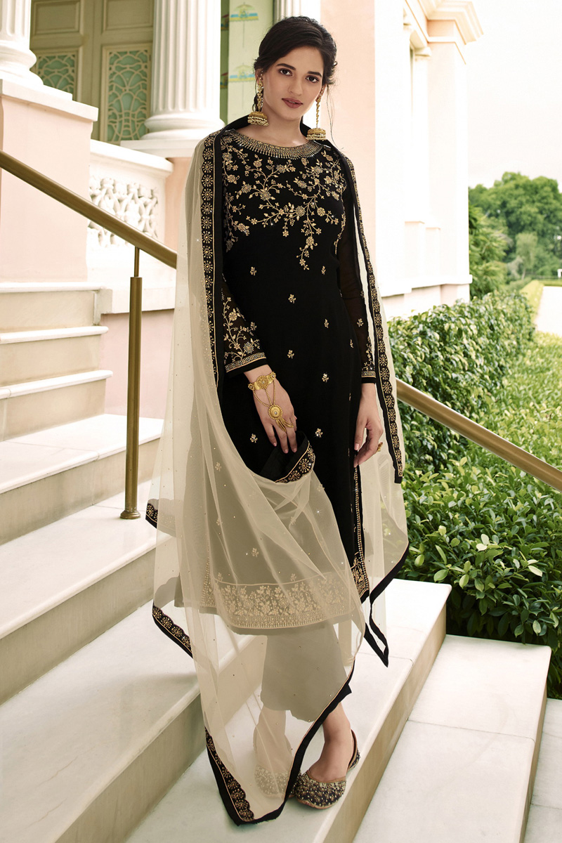 Party Wear Black Color Trendy Embroidered Straight Cut Georgette Fabric Dress