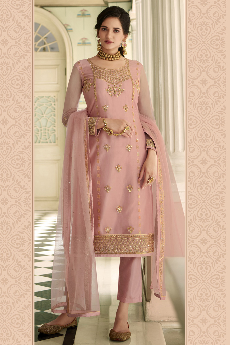 Party Wear Trendy Net Fabric Embroidered Straight Cut Suit In Pink Color