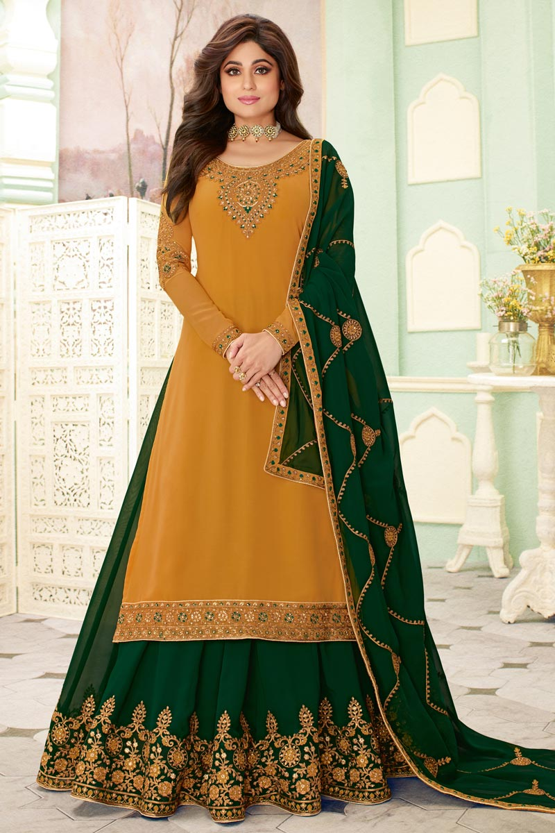 Shamita Shetty Featuring Comforting Mustard Color Georgette Fabric Designer 3 Piece Sharara Top Lehenga With Embroidery Work
