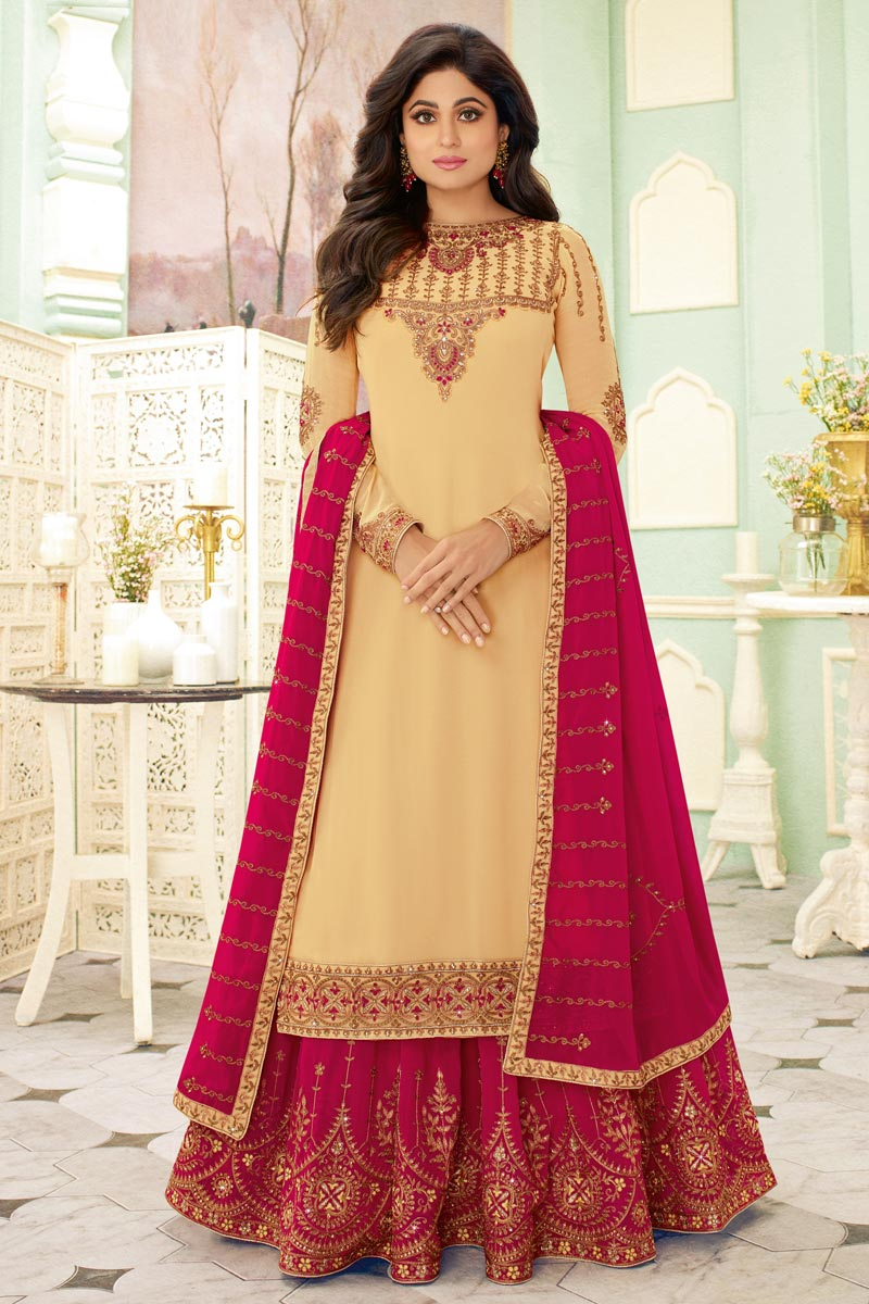 Shamita Shetty Featuring Designer Sharara Top Lehenga With Embroidery Work In Yellow Color Georgette Fabric