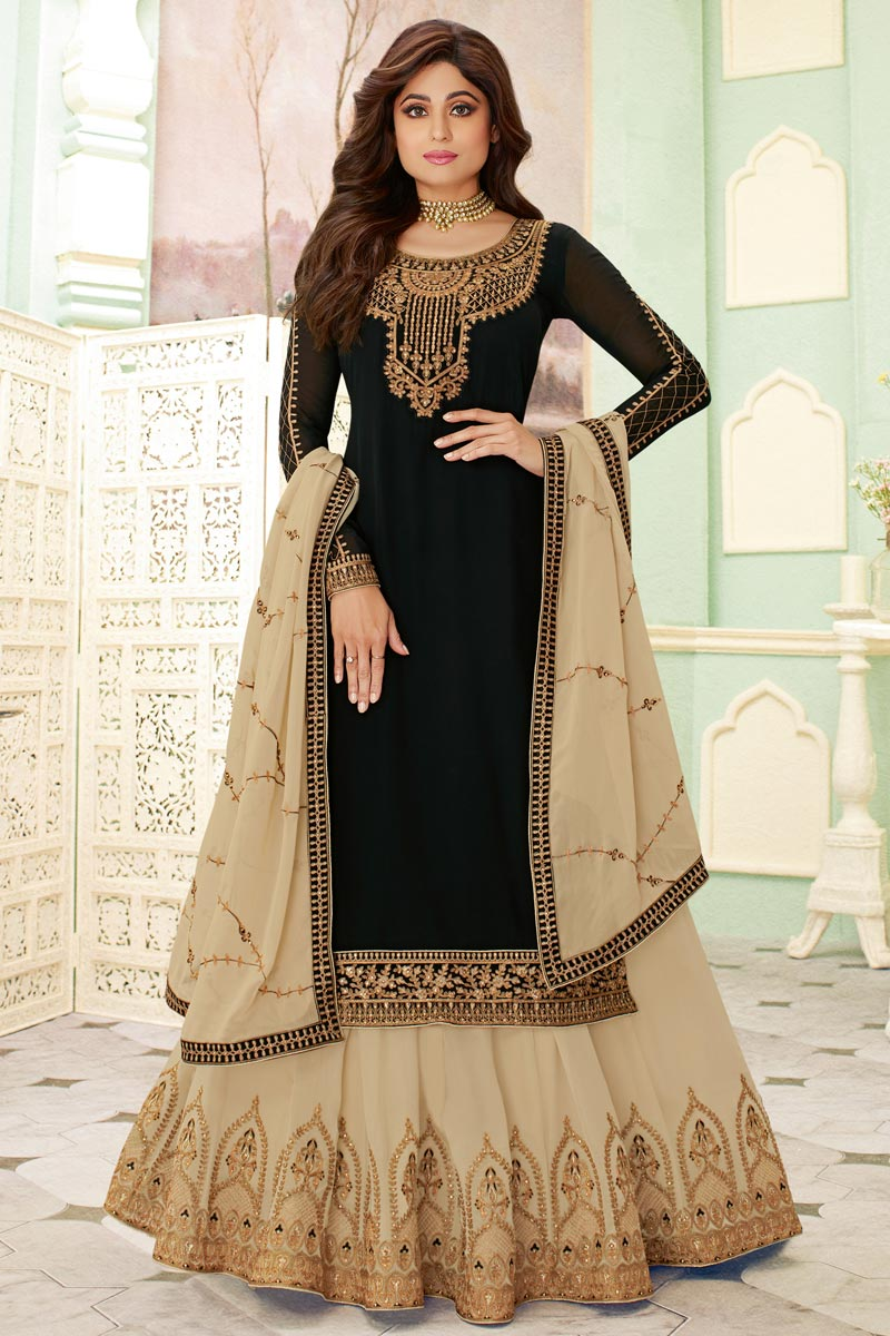 Shamita Shetty Featuring Embroidery Work On Black Color Designer Sharara Top Lehenga In Georgette Fabric