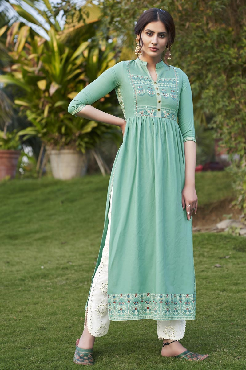 Rayon Fabric Party Wear Fancy Sea Green Color Embroidered Kurti With Pant