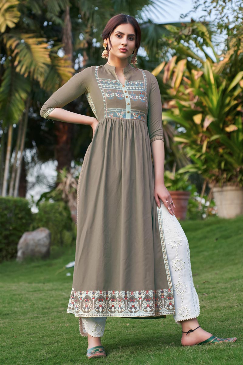 Fancy Party Wear Dark Beige Color Rayon Fabric Embroidered Kurti With Pant