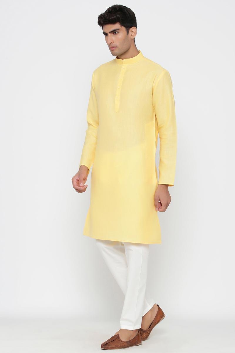 Yellow Color Cotton Fabric Function Wear Fancy Kurta Pyjama For Men