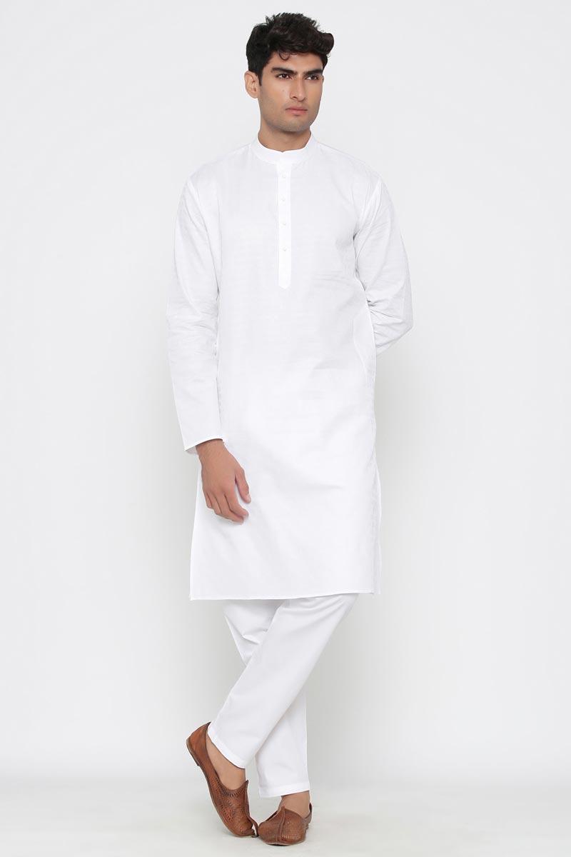 White Color Cotton Fabric Sangeet Wear Stylish Kurta Pyjama For Men