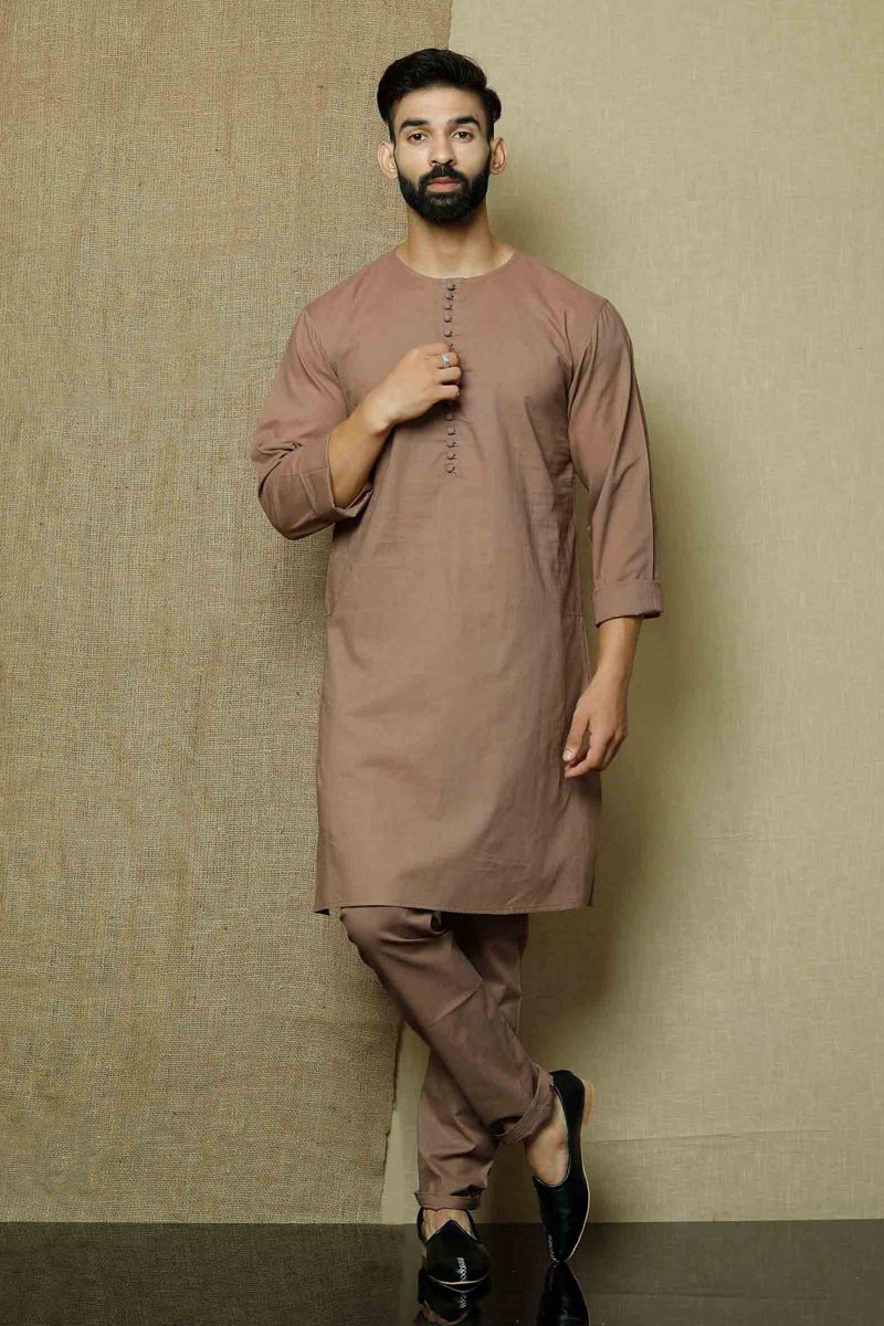 Brown Color Cotton Fabric Festive Wear Fancy Kurta Pyjama For Men