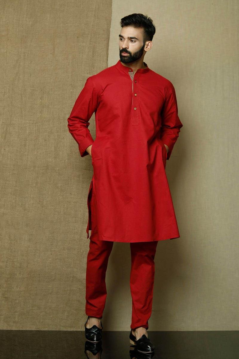 Red Color Cotton Fabric Sangeet Wear Trendy Kurta Pyjama For Men