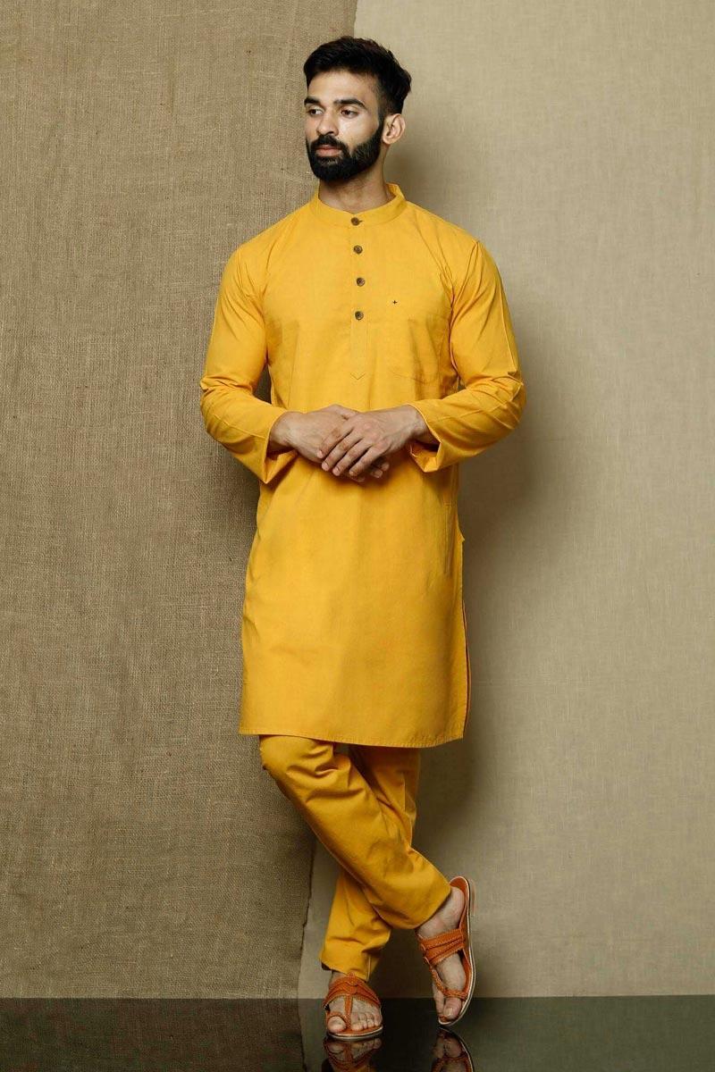 Yellow Color Cotton Fabric Function Wear Stylish Kurta Pyjama For Men