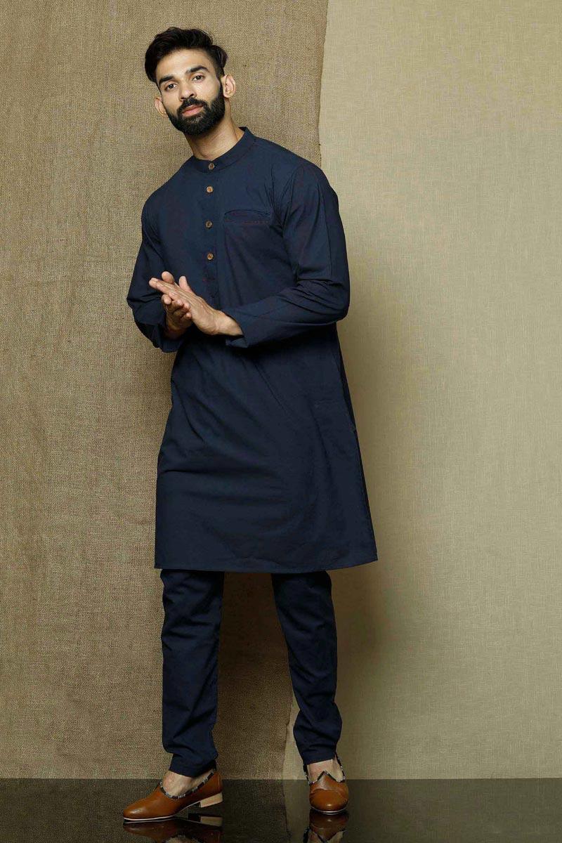 Navy Blue Color Cotton Fabric Festive Wear Designer Kurta Pyjama For Men