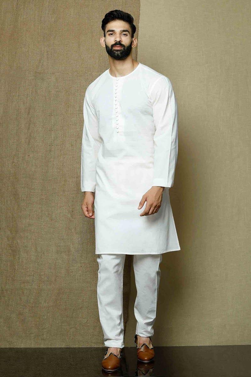 White Color Cotton Fabric Sangeet Wear Fancy Kurta Pyjama For Men