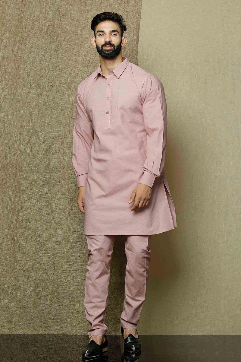 Pink Color Cotton Fabric Function Wear Trendy Kurta Pyjama For Men