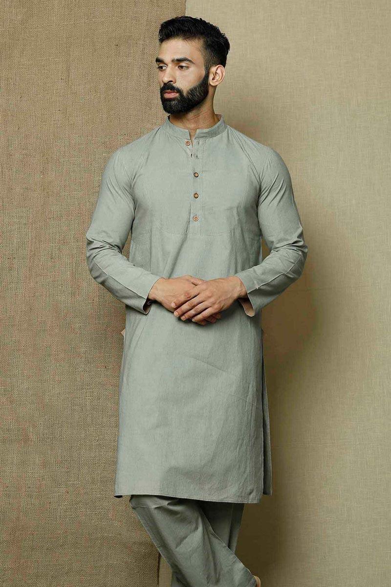 Grey Color Cotton Fabric Festive Wear Stylish Kurta Pyjama For Men