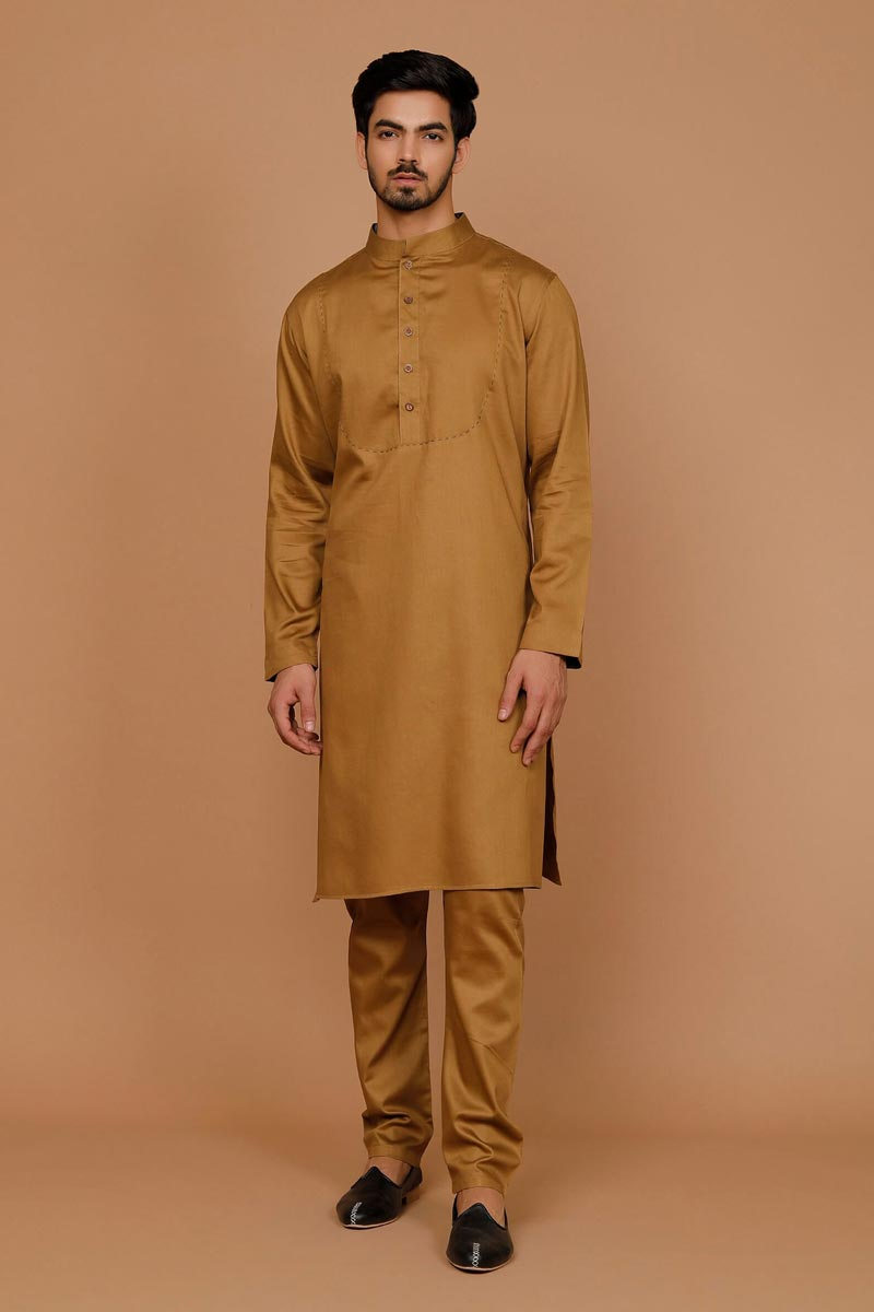 Coffee Color Cotton Fabric Sangeet Wear Designer Kurta Pyjama For Men