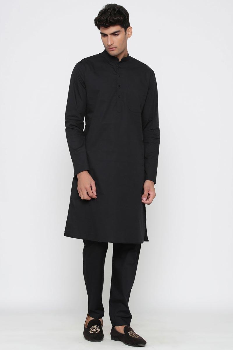 Black Color Cotton Fabric Function Wear Fancy Kurta Pyjama For Men