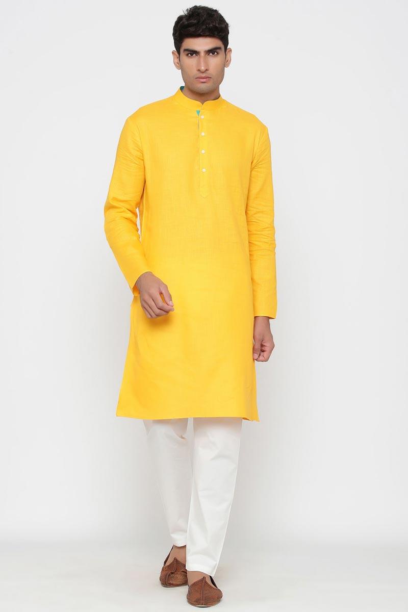 Yellow Color Cotton Fabric Festive Wear Trendy Kurta Pyjama For Men