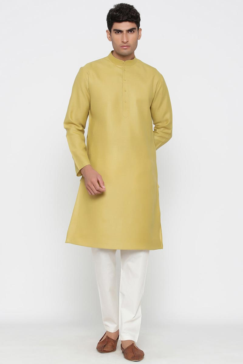 Beige Color Cotton Fabric Sangeet Wear Stylish Kurta Pyjama For Men