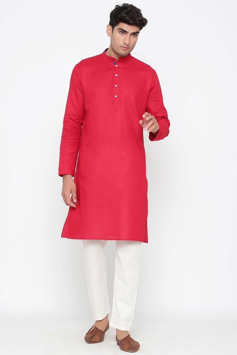 Rani Color Cotton Fabric Function Wear Designer Kurta Pyjama For Men