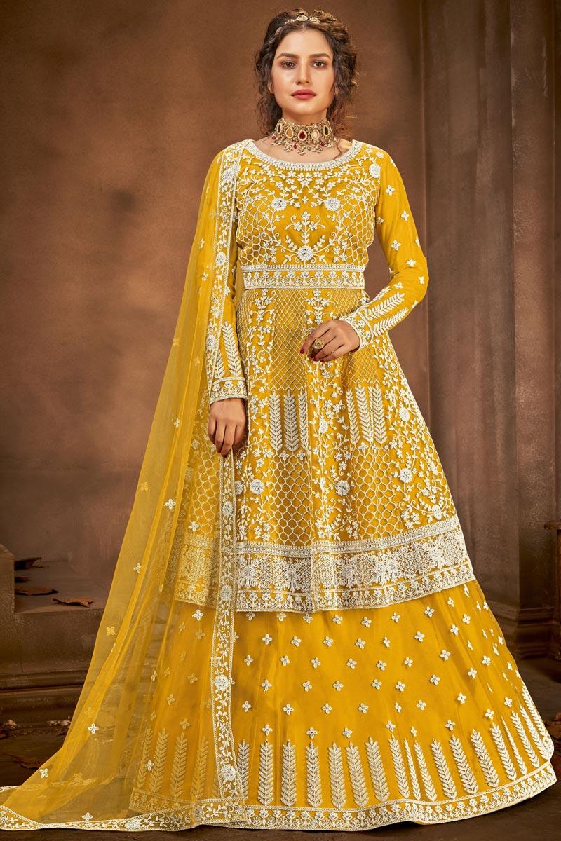 Net Fabric Function Wear Embroidered Yellow Color Sharara Top Lehenga