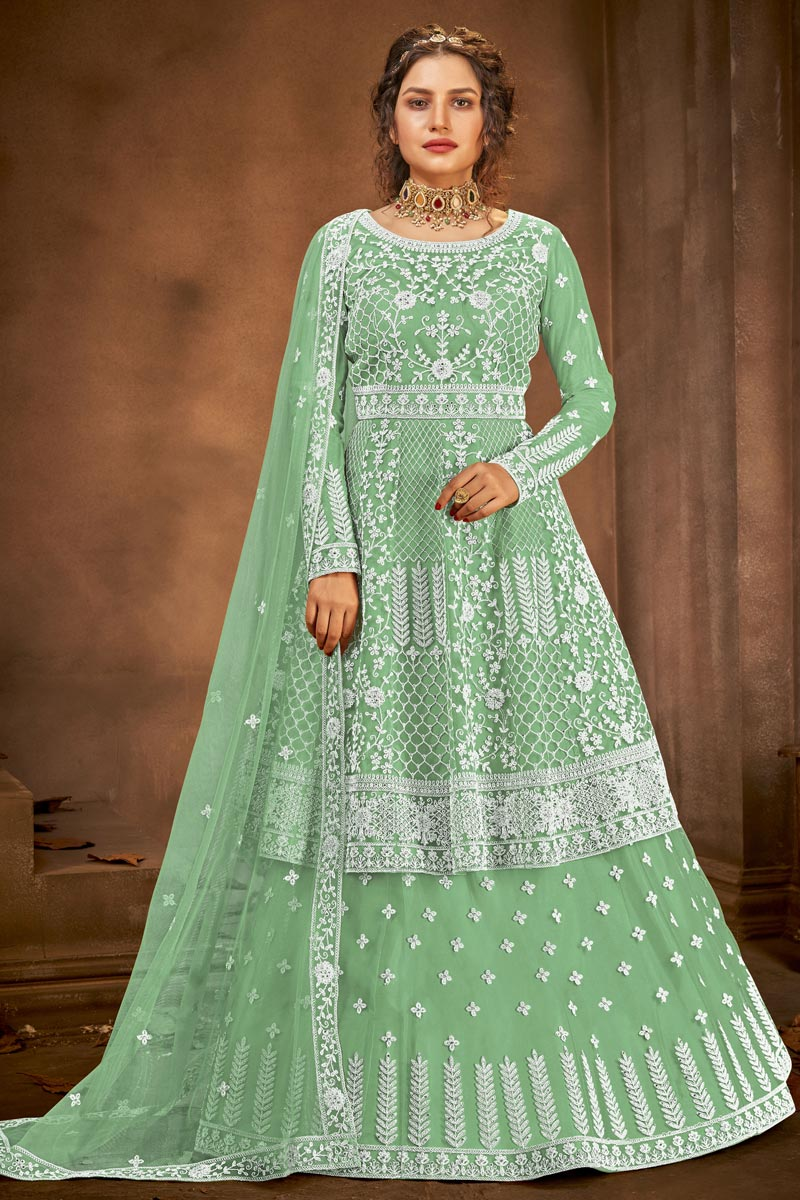 Sea Green Color Embroidered Function Wear Sharara Top Lehenga In Net Fabric