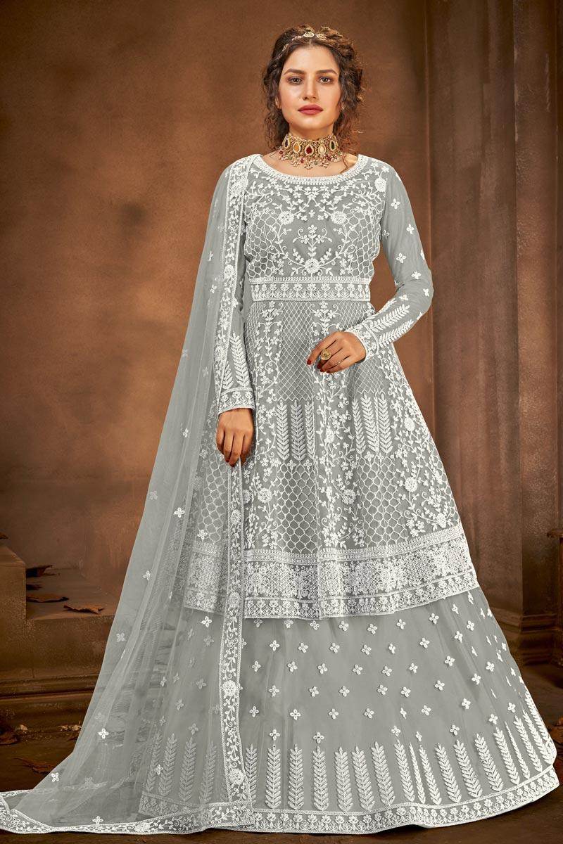 Net Fabric Function Wear Grey Color Embroidered Sharara Top Lehenga