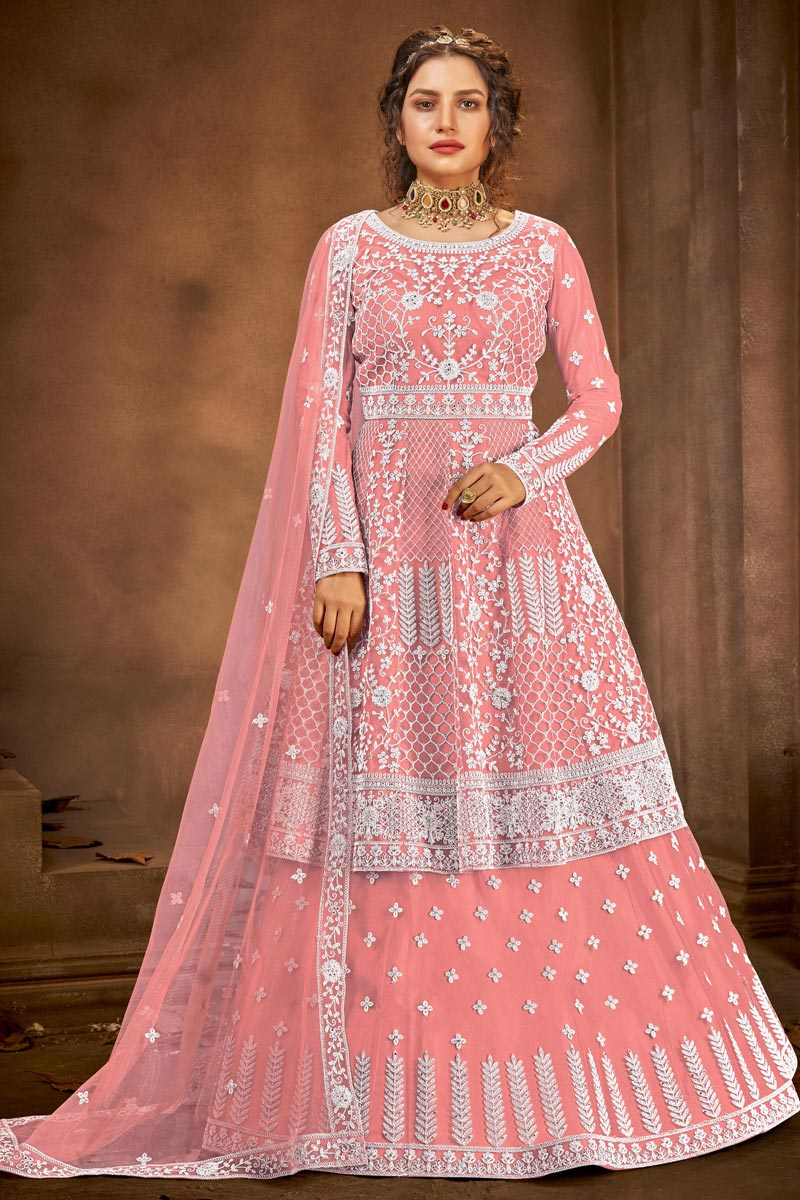 Function Wear Net Fabric Embroidered Sharara Top Lehenga In Pink Color