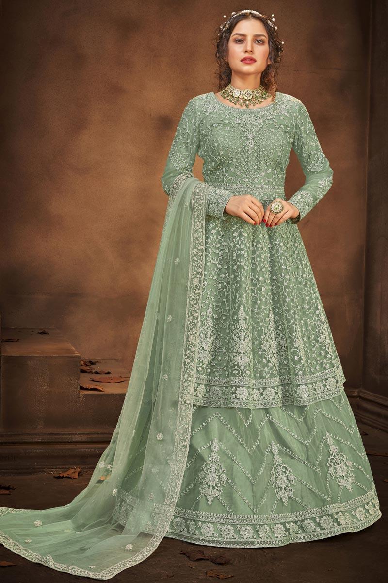 Embroidered Function Wear Sharara Top Lehenga In Net Fabric