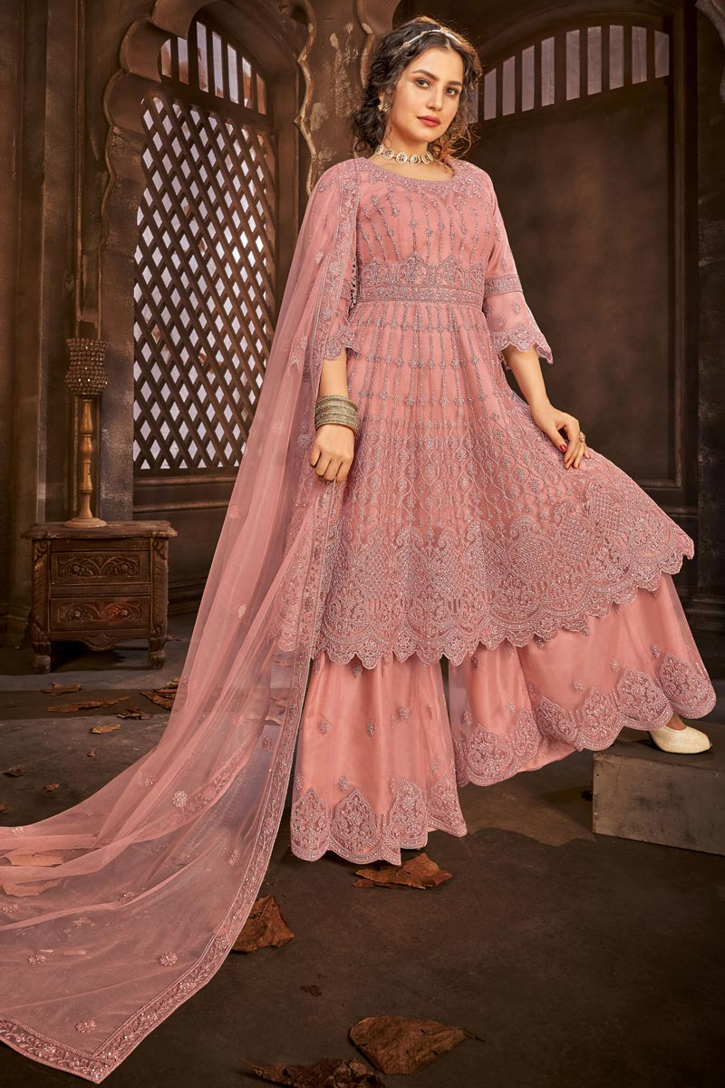 Net Fabric Function Wear Peach Color Embroidered Sharara Top Lehenga